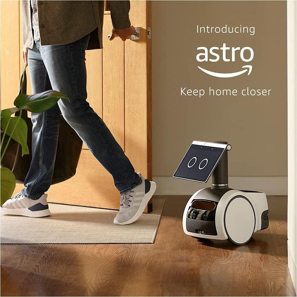 <p>Meet the Alexa-enabled, suprisingly cute <span>Amazon Astro</span> ($1000, originally $1,450), a household robot that will monitor your home when your away. You can check in on specific rooms, things, and people remotely by letting Astro know where to go. If Astro detects an unreconized person or sounds when you're away, it sends alerts. Astro can even hand off items, like snackes, to people in your home. You can set up reminders, manage shoppinglists, and so much more. It will find and follow you to deliver entertainment, calls, messages, timers, alarms, or reminders. Get yourself an invite to try out the coolest gadget!</p>