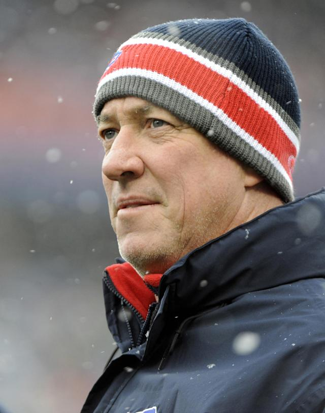FILE - In this Dec. 18, 2011 file photo, Buffalo Bills Hall of Fame quarterback Jim Kelly looks out onto the field during an NFL game between the Bills and Miami Dolphins in Orchard Park, N.Y. Kelly is expected to undergo surgery following the return of oral cancer. His wife, Jill, says the cancer is aggressive and starting to spread. The 54-year-old is being treated in New York City. Brother Dan Kelly tells The Associated Press on Tuesday, March 25, 2014, that doctors are leaning toward surgery on Thursday or perhaps April 1. (AP Photo/Gary Wiepert, File)
