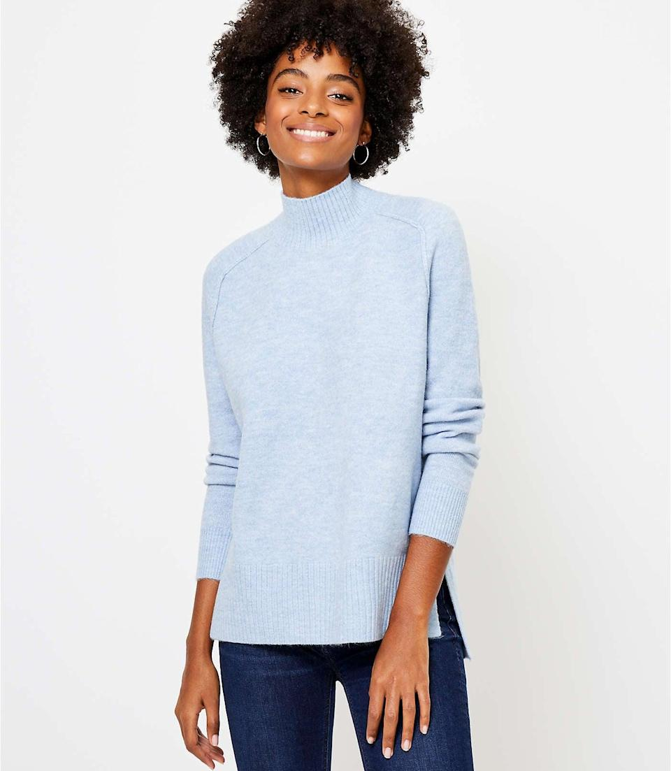 <p>Wear this <span>LOFT Tunic Sweater</span> ($35, originally $70) with matching blue pants for a refreshing monochrome look. </p>
