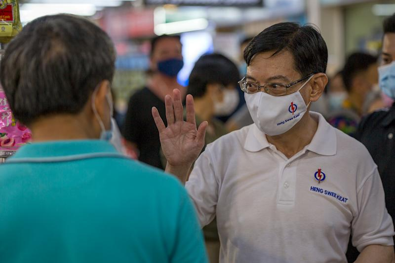 Heng Swee Keat, Singapore's Deputy Prime Minister and PAP candidate for East Coast GRC, seen during a walkabout in Simei on Friday (3 July). (PHOTO: Dhany Osman / Yahoo News Singapore)