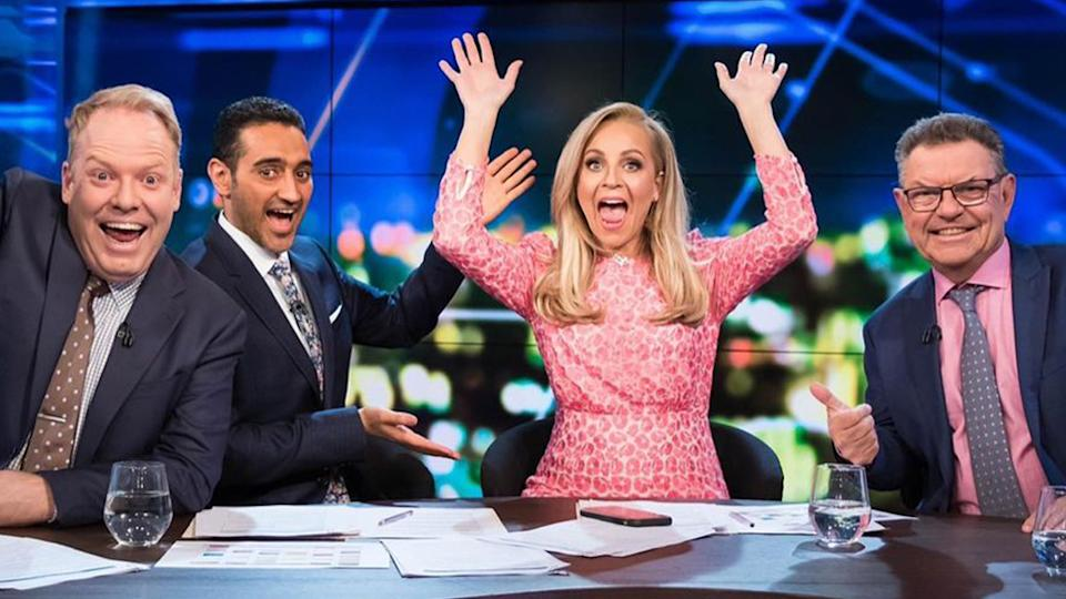 The Project hosts Peter Helliar, Waleed Aly, Carrie Bickmore and Steve Price on set