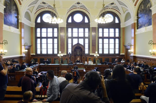 The media prepares for the preliminary hearing of the captain of the Viking Sigyn river cruiser in Pest Central District Court in Budapest, Hungary
