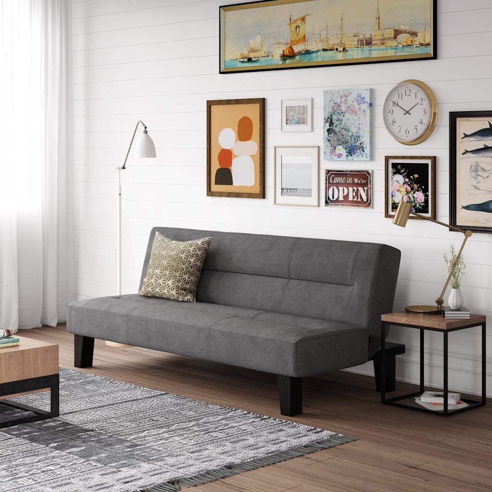 "<h3><a href=""https://www.walmart.com/ip/DHP-Kebo-Futon-Couch-with-Microfiber-Cover-Gray/37663944"" rel=""nofollow noopener"" target=""_blank"" data-ylk=""slk:DHP Kebo Futon Couch"" class=""link rapid-noclick-resp"">DHP Kebo Futon Couch</a></h3><br><strong>When your apartment won't fit a pullout sofa: </strong>This affordable, stylish, and adjustable futon-couch has compact bonus sleep space covered.<br><br><strong>DHP</strong> Kebo Futon Couch with Microfiber Cover, $, available at <a href=""https://go.skimresources.com/?id=30283X879131&url=https%3A%2F%2Fwww.walmart.com%2Fip%2FDHP-Kebo-Futon-Couch-with-Microfiber-Cover-Gray%2F37663944"" rel=""nofollow noopener"" target=""_blank"" data-ylk=""slk:Walmart"" class=""link rapid-noclick-resp"">Walmart</a>"