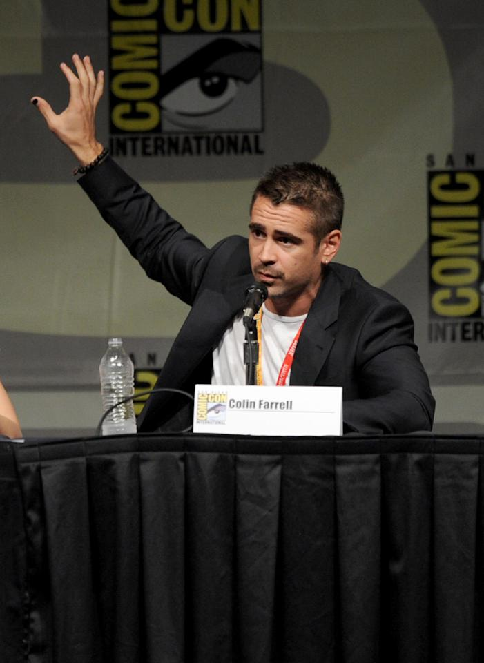 """SAN DIEGO, CA - JULY 13:  Actor Colin Farrell speaks during Sony's """"Total Recall"""" panel during Comic-Con International 2012 at San Diego Convention Center on July 13, 2012 in San Diego, California.  (Photo by Kevin Winter/Getty Images)"""