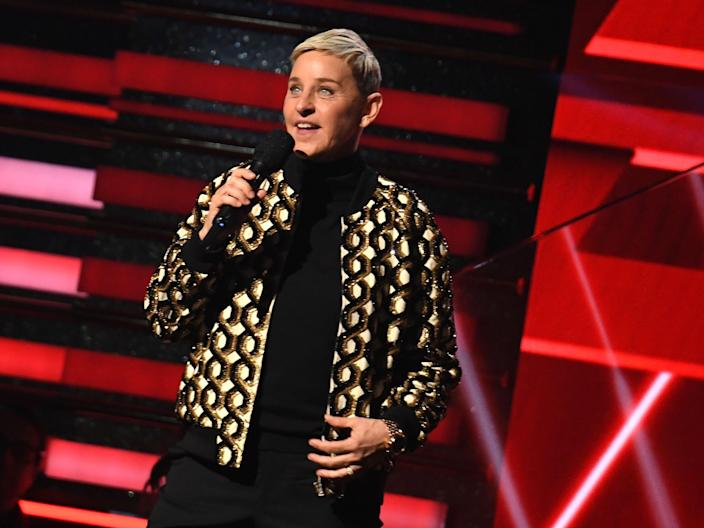 Ellen DeGeneres at the Grammy Awards on 26 January 2020 in Los Angeles (ROBYN BECK/AFP via Getty Images)