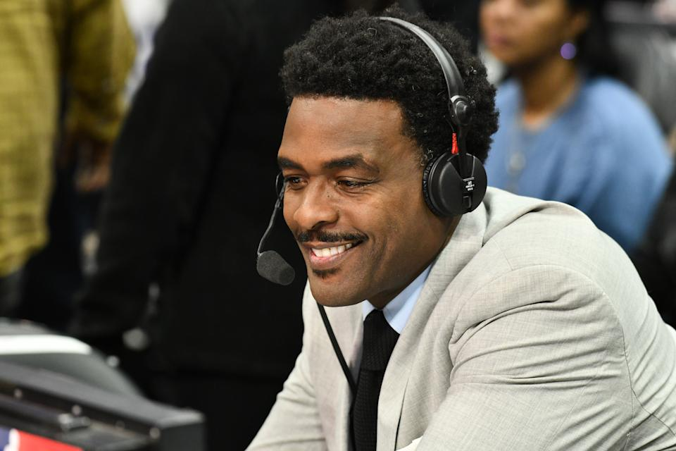 Chris Webber calls a basketball game between the Los Angeles Clippers and the Portland Trail Blazers at Staples Center on November 07, 2019 in Los Angeles, California.