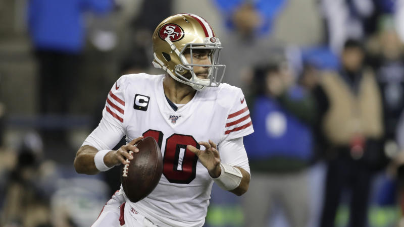 San Francisco 49ers quarterback Jimmy Garoppolo and his team want to wear the all-white throwbacks in Super Bowl LIV. (AP Photo/Stephen Brashear)
