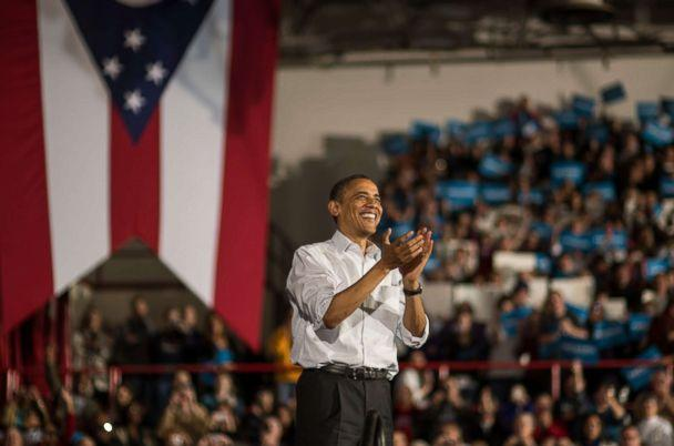 PHOTO: President Barack Obama wraps up his speech during a campaign stop in Mentor, Ohio, on Nov. 3, 2012. (Nikki Kahn/The Washington Post via Getty Images)