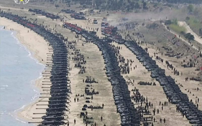 "This image made from video of a still image broadcast in a news bulletin by North Korea's KRT on Wednesday, April 26, 2017, shows what was said to be a ""Combined Fire Demonstration"" held to celebrate the 85th anniversary of the North Korean army, in Wonsan, North Korea - Credit: KRT via AP Video"