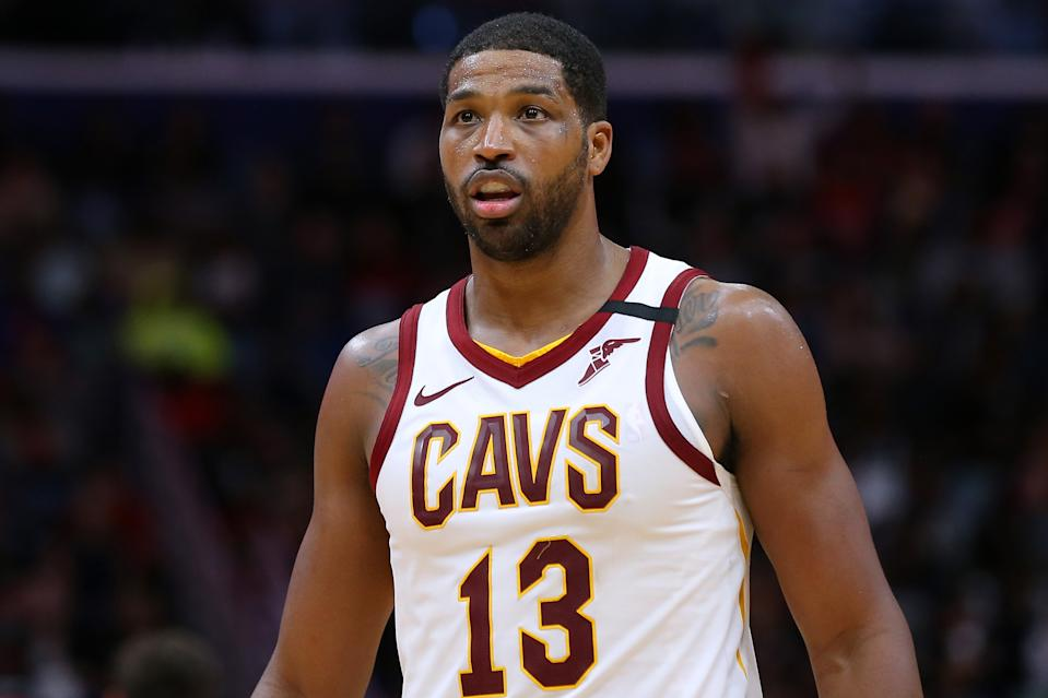 Tristan Thompson #13 of the Cleveland Cavaliers reacts against the New Orleans Pelicans during the second half at the Smoothie King Center.