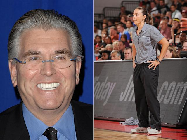 Mike Francesa (left) thinks Becky Hammon has 'no shot' of being an NBA head coach. (Left: AP; right: Getty Images)