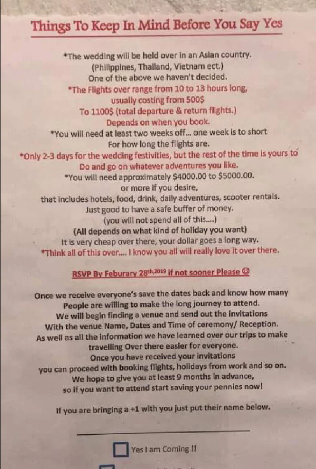 A save-the-date card was leaked to Facebook after a guest was shocked at the lengthy list of 'things to consider before saying yes'. Source: Facebook