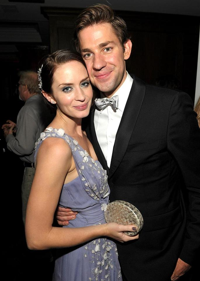 "Emily Blunt, in a lavender chiffon Dior gown, and her handsome hubby John Krasinski won cute couple of the night at the AMC shindig. John Shearer/<a href=""http://www.gettyimages.com/"" target=""new"">GettyImages.com</a> - August 29, 2010"