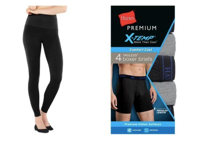 black leggings and package of boxer briefs