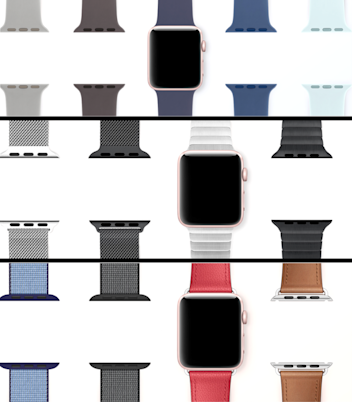 The Apple Watch offers a dizzying assortment of bands in different materials and colors.