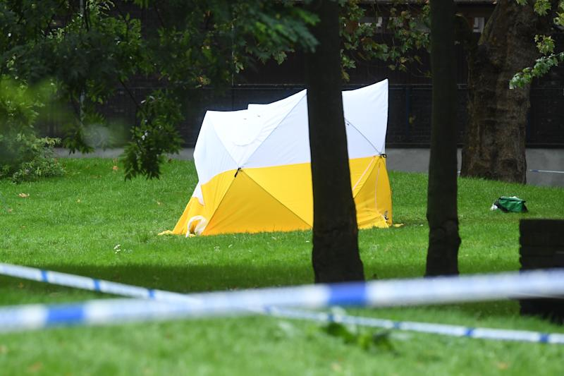 A police tent on Grimsel Path on the Brandon Estate, Camberwell, south London, where an 18-year-old man has died following a stabbing on Thursday evening (PA)