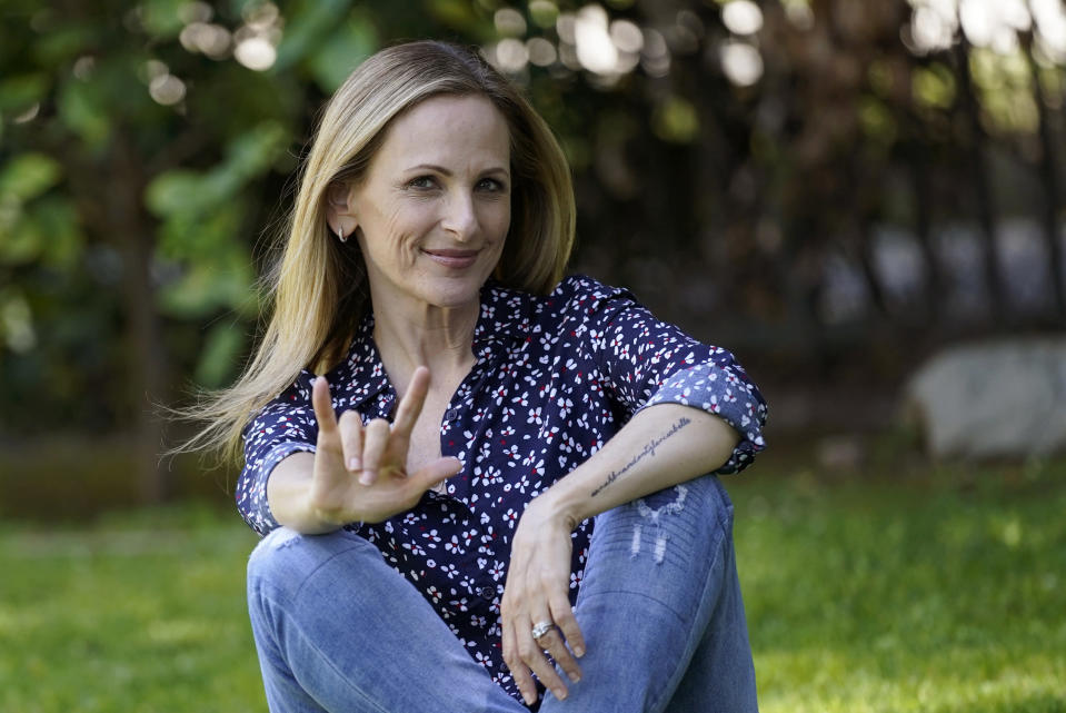 Actress/producer Marlee Matlin poses for a portrait at her home, Wednesday, April 7, 2021, in La Canada Flintridge, Calif. (AP Photo/Chris Pizzello)