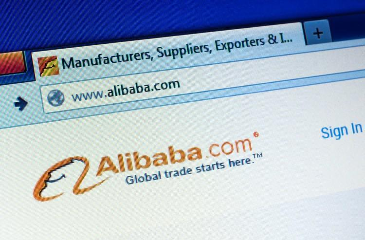 Alibaba Group Holding Ltd (NYSE:BABA), hompage on a screen, manufacturers, suppliers, global trade, laptop