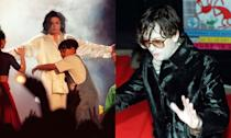 """The King of Pop was challenged by big Brit Pop star in 1996 when Jarvis Cocker took exception to Michael Jackson's performance of Earth Song and invaded the stage to shake his behind to viewers. He later described his actions a """"form of protest"""" against Jackson portraying himself as """"some kind of Christ-like figure"""". (PA)"""