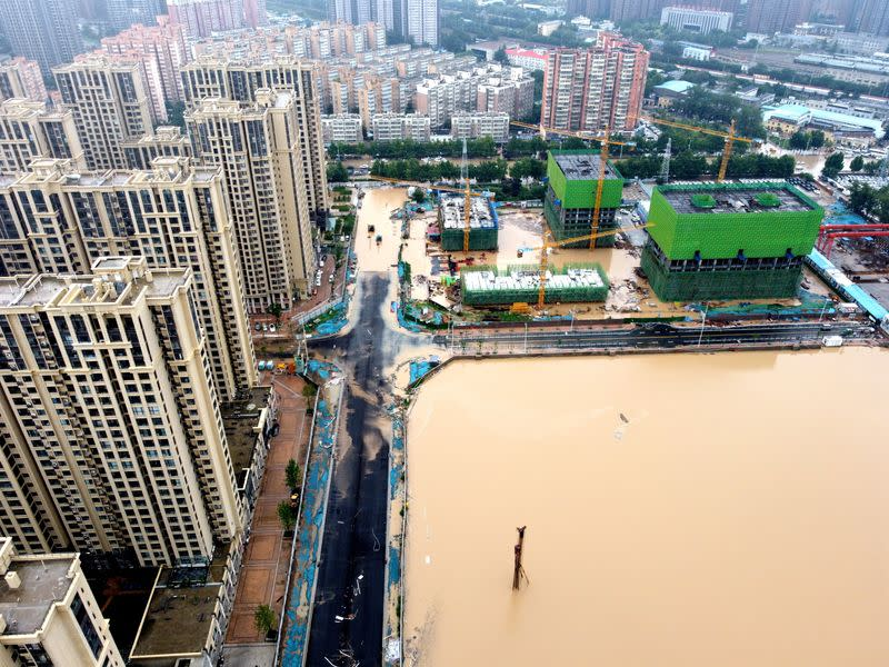 Aerial view shows the flooded areas following heavy rainfall in Zhengzhou