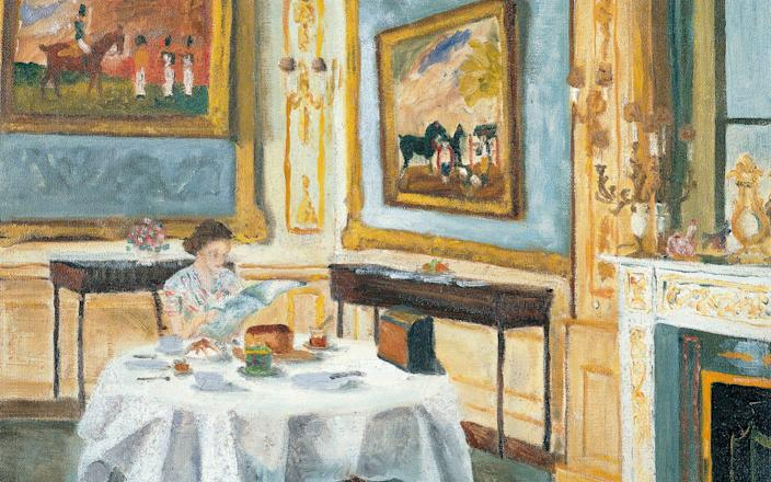 This charming oil painting of the Queen at breakfast was one of the few works the Duke allowed to be photographed