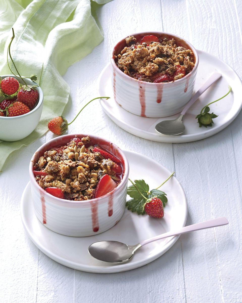 """<p><strong>Recipe: </strong><a href=""""https://www.southernliving.com/recipes/strawberry-rhubarb-crisp"""" rel=""""nofollow noopener"""" target=""""_blank"""" data-ylk=""""slk:Strawberry Rhubarb Crisp with Granola"""" class=""""link rapid-noclick-resp""""><strong>Strawberry Rhubarb Crisp with Granola</strong></a></p> <p>Ian Rynecki, the executive chef at Pippin Hill Farm & Vineyards in Virginia, created this elegant crisp recipe that's perfect for spring gatherings. Unsure how quinoa fits into this? It's hidden in the healthy granola topping!</p>"""