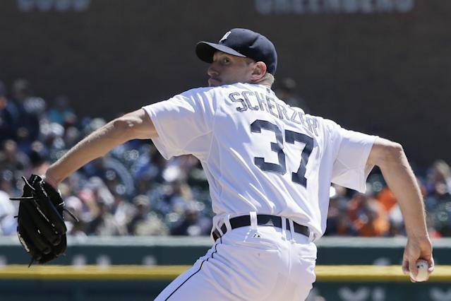 Detroit Tigers starting pitcher Max Scherzer throws during the first inning of a baseball game against the Los Angeles Angels in Detroit, Saturday, April 19, 2014. (AP Photo/Carlos Osorio)