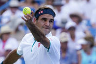 Roger Federer, of Switzerland, serves to Andrey Rublev, of Russa, during the quarterfinals of the Western & Southern Open tennis tournament, Thursday, Aug. 15, 2019, in Mason, Ohio. (AP Photo/John Minchillo)