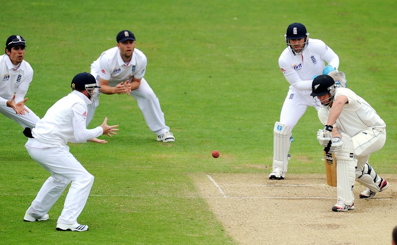 New Zealnd's Doug Bracewell edges the ball to England's Ian Bell off the bowling of Graeme Swann during the Second Investec Test match at Headingley, Leeds.