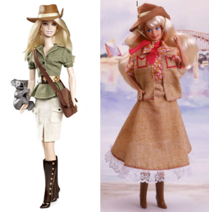 """<div class=""""caption-credit"""">Photo by: Mattel.com</div><b><div class=""""caption-title"""">Australia Barbie, 2012 and 1993</div></b>""""The Barbie Collector Dolls of the World line was launched in 1980 and is the largest and longest-running series in the history of the Barbie brand,"""" a Mattel spokesperson told Yahoo! Shine. """"Each doll wears an ensemble inspired by the traditional costume and fashion of the country."""" Though some have bristled at the fact that the foreign-looking dolls carry a passport and a pet, Mattel says that """"Every doll in the current line includes a 'passport' and stamps as well as an animal friend providing additional play value."""" The 2012 Australian Barbie (left) looks prepared for the mall, not the outback (in spite of the koala on her arm); the 1993 version was much more rustic."""