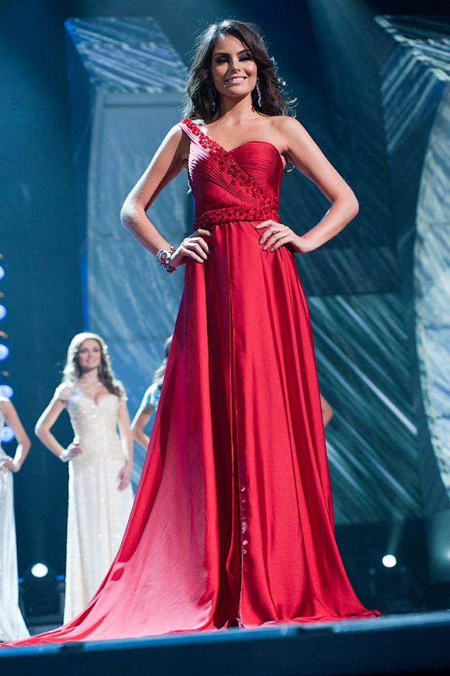 "Jimena Navarrete, Miss Mexico 2010, poses for the judges during final voting at the live telecast of the <a href=""/2010-miss-universe-pageant/show/46695"">2010 Miss Universe</a> Pageant."