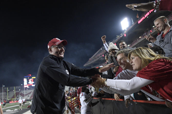 Indiana head coach Tom Allen celebrates with fans after an NCAA college football game against Maryland, Saturday, Oct. 19, 2019, in College Park, Md. (AP Photo/Nick Wass)