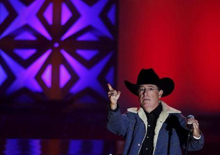 Stephen Colbert performs during the Songwriters Hall of Fame ceremony in New York, June 18, 2015.  REUTERS/Shannon Stapleton