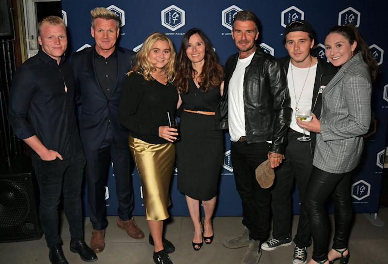 Neighbours have complained about how the Ramsay family (pictured: Jack Ramsay, Gordon Ramsay, Matilda Ramsay, Tana Ramsay and Megan Ramsay with David and Brooklyn Beckham) have been acting during lockdown, pictured here with . Photo: Getty