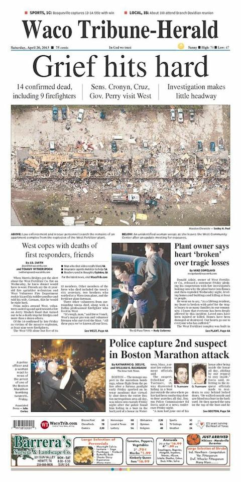 The Tribune-Herald, Waco, Texas, April 20, 2013.