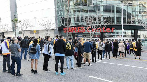 PHOTO: Fans arrive outside prior to The Celebration of Life for Kobe & Gianna Bryant at Staples Center on Feb. 24, 2020, in Los Angeles. (Kevork Djansezian/Getty Images)