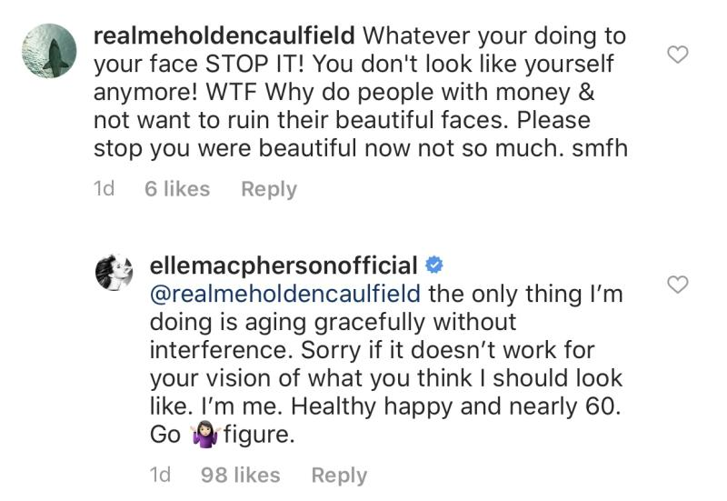 A commenter criticized Elle Macpherson's looks and accused the model of having work done. (Photo: Elle Macpherson via Instagram)