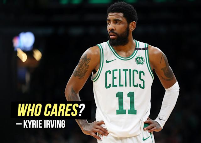 """Kyrie Irving doesn't seem bothered by <a href=""""https://sports.yahoo.com/boston-celtics-kyrie-irving-not-bothered-shooting-struggles-playoffs-milwaukee-bucks-game-4-024931747.html"""" data-ylk=""""slk:his performance during Game 4;outcm:mb_qualified_link;_E:mb_qualified_link"""" class=""""link rapid-noclick-resp yahoo-link"""">his performance during Game 4</a>."""