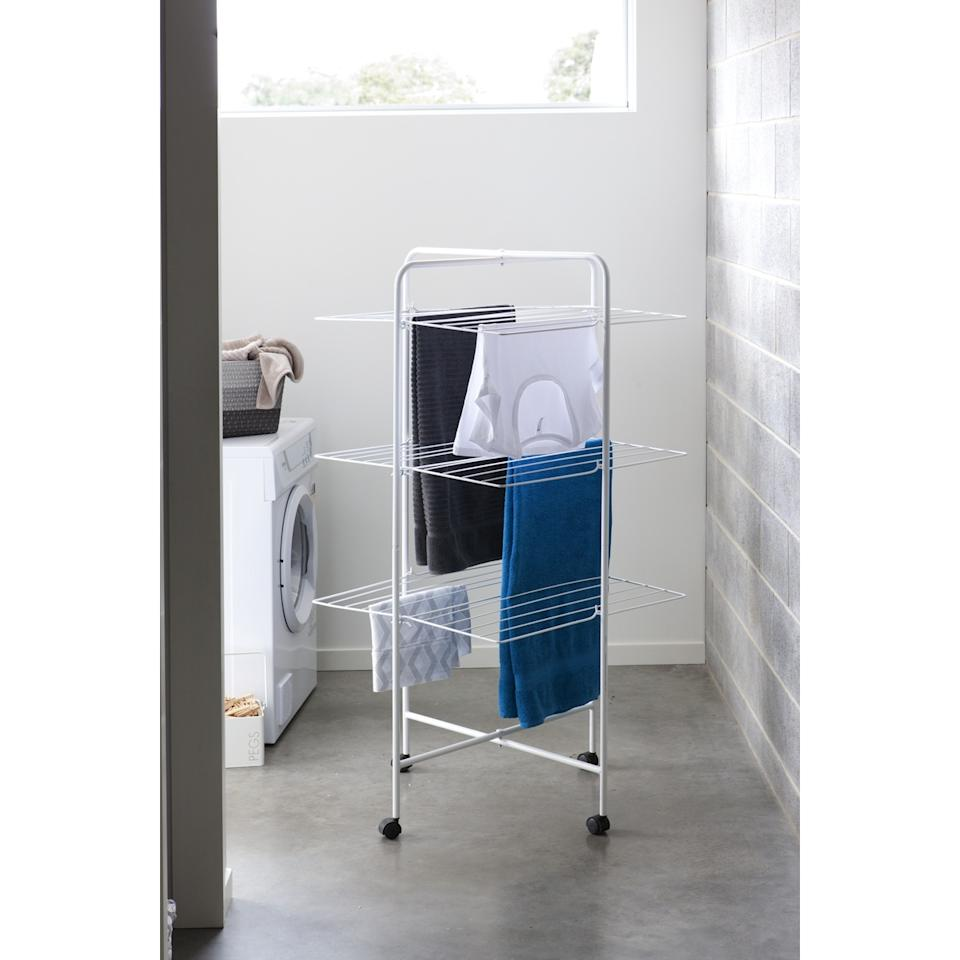 Kmart 3 Tier Mobile Clothes Airer, $29. Photo: Kmart.