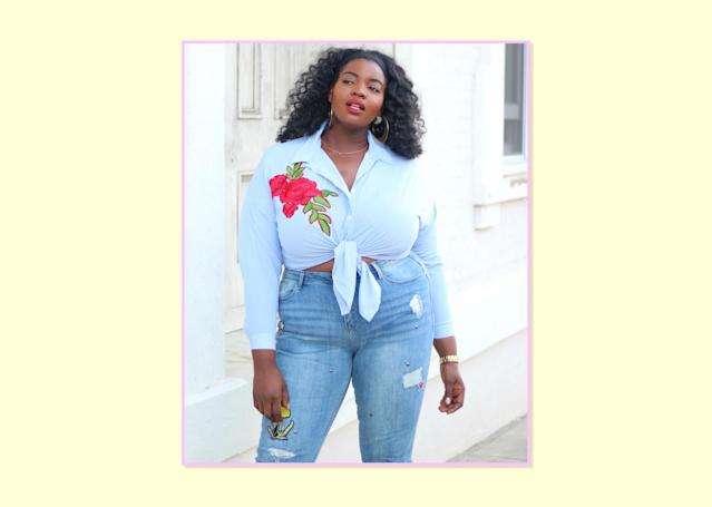"""<p><strong>Valerie Eguavoen, <a href=""""http://www.fashiononacurve.com"""" rel=""""nofollow noopener"""" target=""""_blank"""" data-ylk=""""slk:On a Curve"""" class=""""link rapid-noclick-resp"""">On a Curve</a></strong><br> My go-to jeans are a high-waisted skinny pair. I've always been super tall, so finding the right pair of jeans to fit both my waist and my legs were a struggle growing up. Simply Be has become one of my favorite brands to shop for plus-size jeans. I tried these on and immediately fell in love with the fit and design. They are so stylish, and they hug my curves in all the right places. The fit on a pair of skinny jeans can make or break your outfit, so I always look for the perfect balance between the waistband and the fit along the thighs and calves. I love this particular pair because of the distress detail and trendy patchwork.<br>Evie Badge Straight Leg Jean, $57.50, <a href=""""https://www.simplybe.com/en-us/products/evie-badge-straight-leg-jeans/p/ET208#&mainSearch=true&outletSearch=false"""" rel=""""nofollow noopener"""" target=""""_blank"""" data-ylk=""""slk:Simply Be"""" class=""""link rapid-noclick-resp"""">Simply Be</a> </p>"""