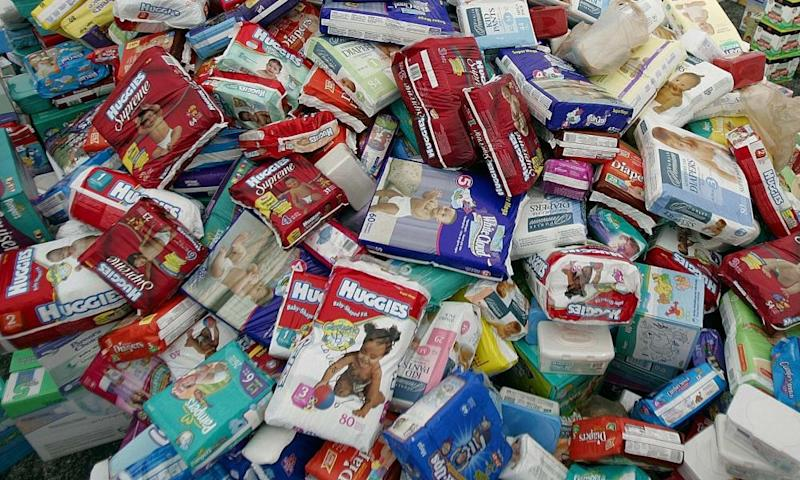 A large mound of nappies