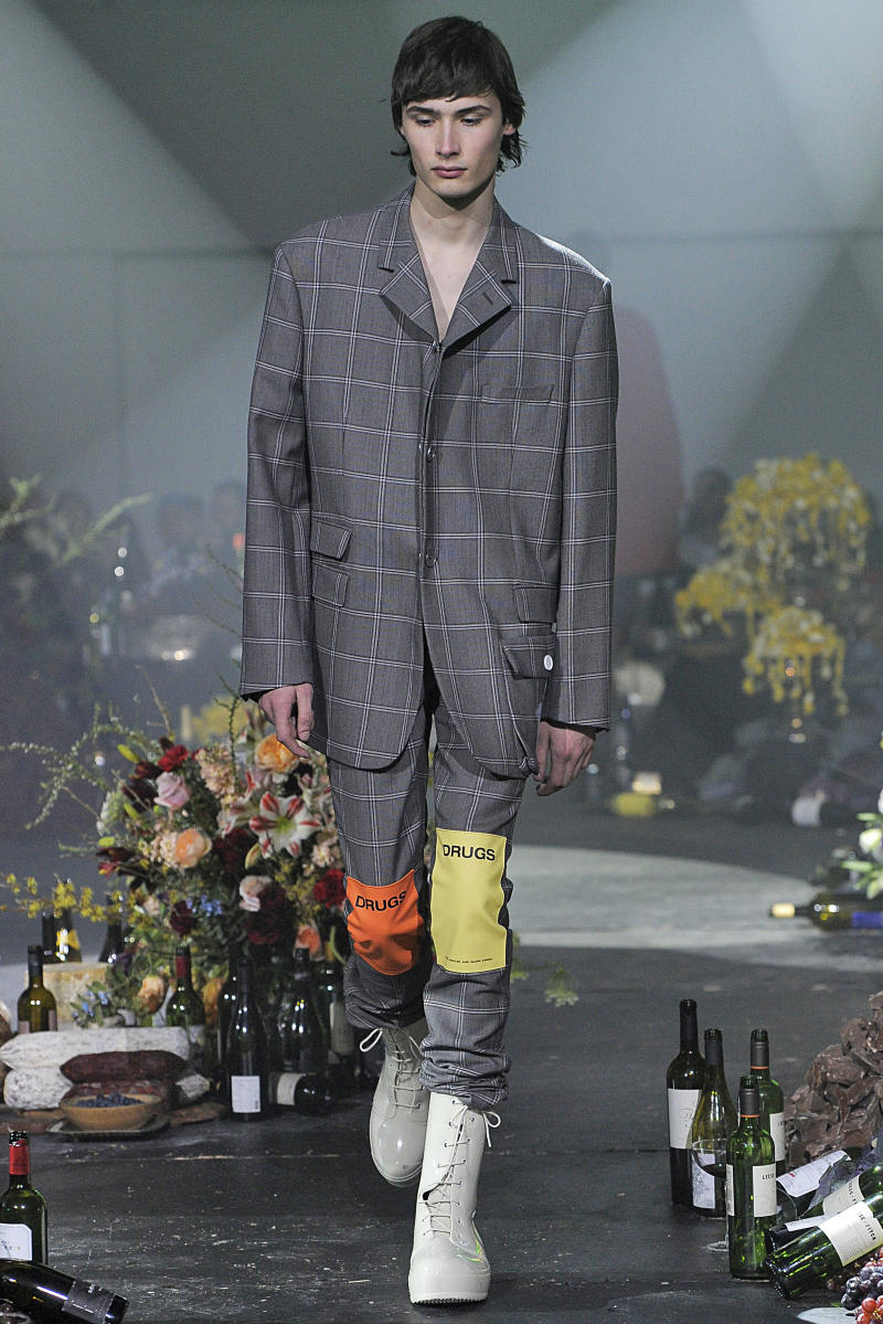 The names of drugs were featured on a number of Raf Simons designs for his