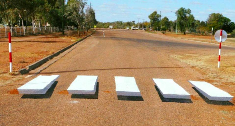 Boulia was the first town in Australia to install a 3D illusion of a zebra crossing to slow down drivers. Source: Facebook/Remote Area Planning and Development Board
