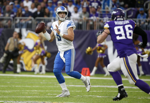 Detroit Lions quarterback Matthew Stafford will try to keep his team's division title hopes alive against the Vikings. (AP)