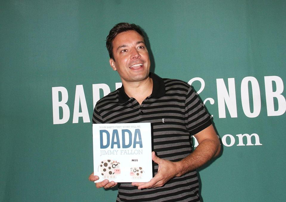 """<p>Late night TV host Jimmy Fallon admits that when he wrote his first book, <em>Your Baby's First Word Will Be Dada</em>, he wasn't focused on imparting wisdom to his two daughters with a moral-based ending, but was purely trying to satisfy his own selfish agenda. </p><p>""""There is no moral to this story,"""" the <em>SNL</em> alum told the <a href=""""https://www.thestar.com/entertainment/books/2015/06/11/no-moral-or-plot-to-jimmy-fallons-new-kids-book-he-says.html"""" rel=""""nofollow noopener"""" target=""""_blank"""" data-ylk=""""slk:Associated Press"""" class=""""link rapid-noclick-resp"""">Associated Press</a> after the book's release in 2015. """"There's no like, 'Hey, don't be a bully.' The only thing is the secret agenda for the baby to say 'dada.' It's a little sad but it's what dads want."""" </p><p>Since then, Jimmy has published four more children's books, including a sequel to his first entitled <em>Everything is Mama</em>. <br></p><p><a class=""""link rapid-noclick-resp"""" href=""""https://www.amazon.com/Your-Babys-First-Word-Will/dp/125007181X?tag=syn-yahoo-20&ascsubtag=%5Bartid%7C2140.g.33987725%5Bsrc%7Cyahoo-us"""" rel=""""nofollow noopener"""" target=""""_blank"""" data-ylk=""""slk:Buy the Book"""">Buy the Book</a></p>"""
