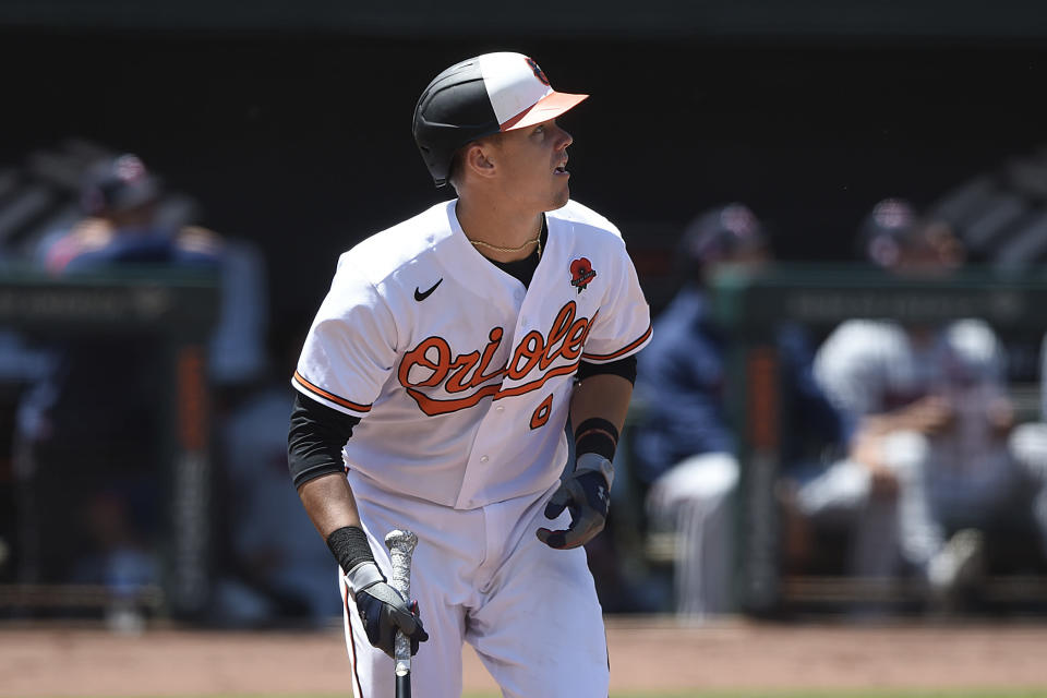 Baltimore Orioles' Ryan Mountcastle watches his solo home run against the Minnesota Twins in the fifth inning of a baseball game Monday, May 31, 2021 in Baltimore.(AP Photo/Gail Burton)