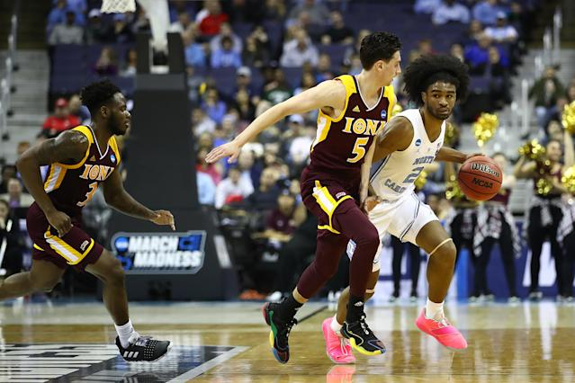 <p>North Carolina almost slipped to an Iona upset in the first round of the 2019 tournament. Iona had a 38-35 lead at halftime, but UNC pulled it together by the second half to win 88-73. </p>