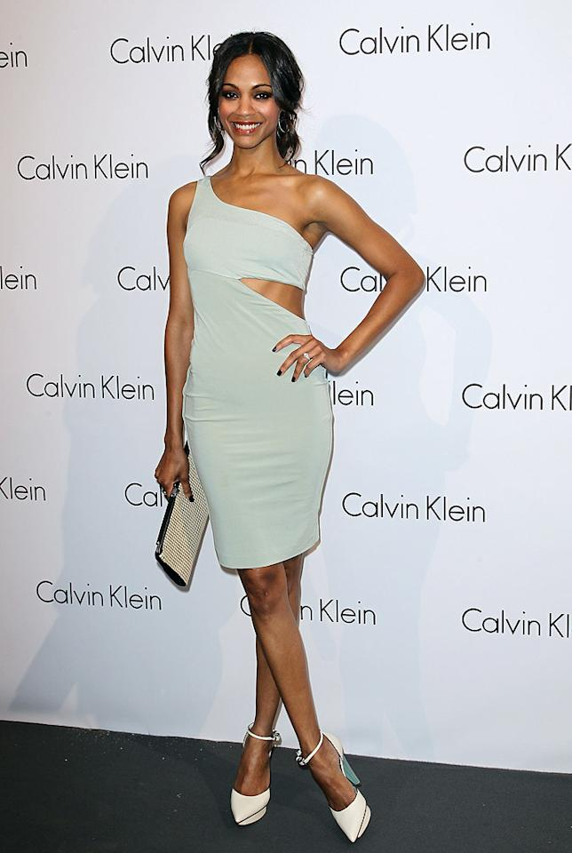 """Zoe Saldana recently attended a star-studded Calvin Klein fete during Berlin Fashion Week. The newly engaged """"Avatar"""" star -- who just replaced Eva Mendes as the face of CK underwear -- looked marvelous in a mint-colored cut-out dress and to-die-for footwear. Andreas Rentz/<a href=""""http://www.gettyimages.com/"""" target=""""new"""">GettyImages.com</a> - July 7, 2010"""