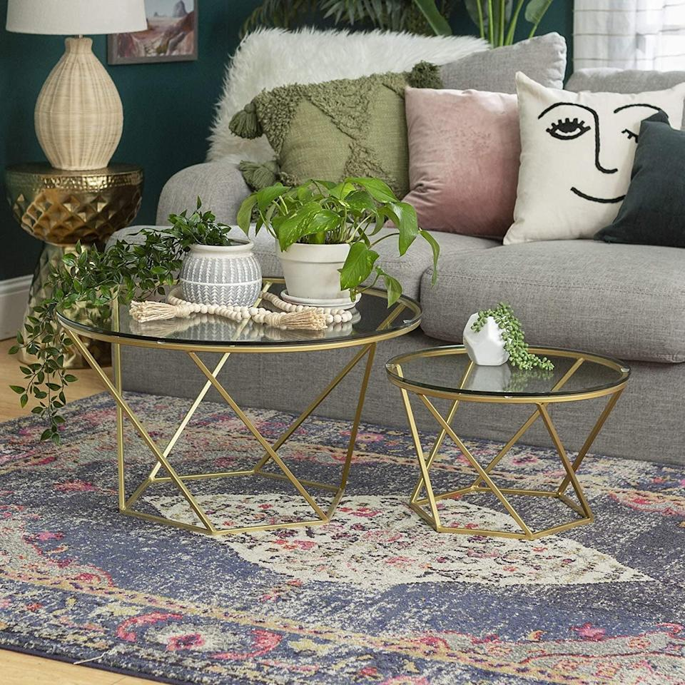 <p>Why have one when you can get two with this <span>New Geometric Glass Nesting Coffee Tables Set</span> ($149)? We're liking the asymmetry of the legs, which adds a touch of playful personality.</p>