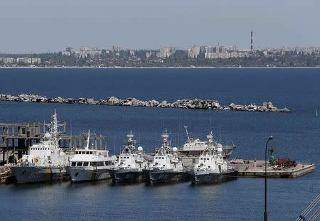 Ukrainian Coast Guard vessels are docked in the Black Sea port of Odessa